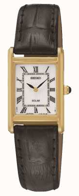 Seiko Womens' Solar Powered Rectangular Gold Plated Watch SUP250P1
