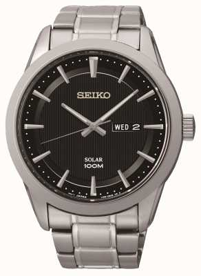 Seiko Mens Solar Powered Black Dial Stainless steel Watch SNE363P1