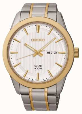 Seiko Mens Day/Date Watch | Two-Tone Stainless Steel Strap | SNE364P1