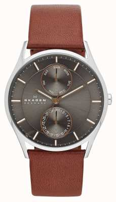 Skagen Mens Holst Brown Leather Strap Watch SKW6086