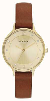 Skagen Ladies Anita Gold Plated Brown Strap Watch SKW2147