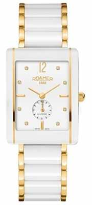 Roamer Womens Ceraline Saphira White Ceramic Gold Plate Crystal Set 690855482960