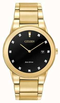 Citizen | Mens Axiom Eco-Drive | Diamond Set Black Dial | AU1062-56G