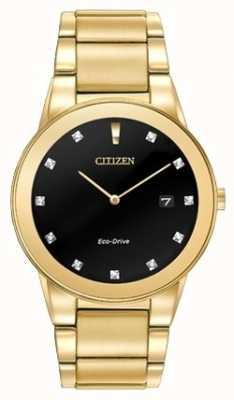 Citizen | Mens Axiom Eco-Drive | Diamond Set Black Dial | AU1062-56G