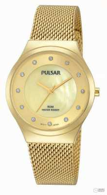 Pulsar Ladies Gold Plated Steel Watch PH8130x1
