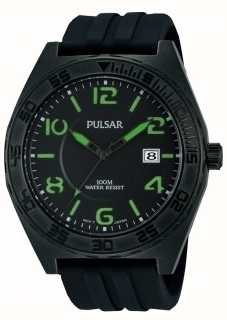 Pulsar Mens Black Rubber Quartz Analog Watch PS9317X1