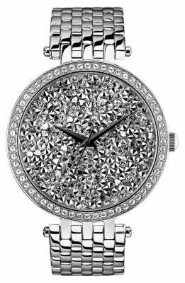 Caravelle New York Crystals Silver Steel Stone Set Watch 43L160