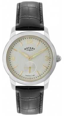 Rotary Mens Cambridge, Steel, Black Leather Watch GS02700/06