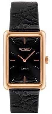 Rotary Mens London Gold Plate Black Dial Black Leather Watch GS90993/04