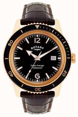 Rotary Ocean Avenger Mens Rose Gold Steel Watch GS02696/04
