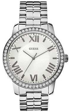 Guess Ladies' Allure Stone Set Silver Steel Watch W0329L1