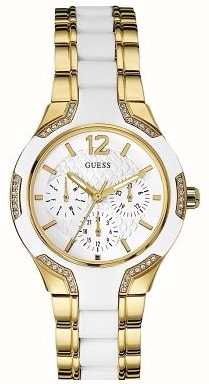 Guess Womens Center Stage, White & Gold Watch W0556L2 ...