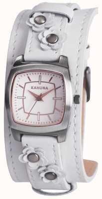 Kahuna Ladies White Flower Detail Cuff Watch KLS-0241L