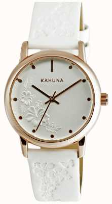 Kahuna Ladies White Leather Strap Watch KLS-0304L