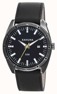 Kahuna Mens Black Leather Strap Watch KUS-0115G