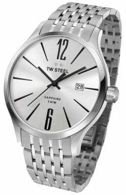 TW Steel Mens Slim Line Stainless Steel Black Detail Watch TW1307