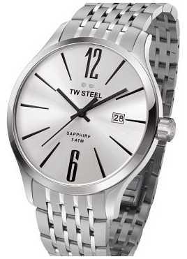 TW Steel Mens Slim Line Stainless Steel Black Detail Watch TW1307