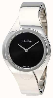Calvin Klein Womens Senses, Steel, Black Dial Watch K5N2M121