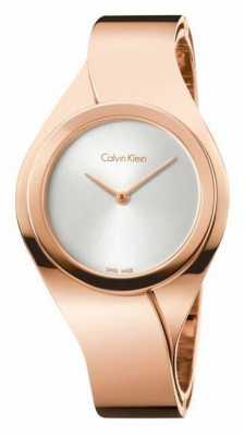 Calvin Klein Womens Senses, Rose Gold, Silver Dial K5N2M626