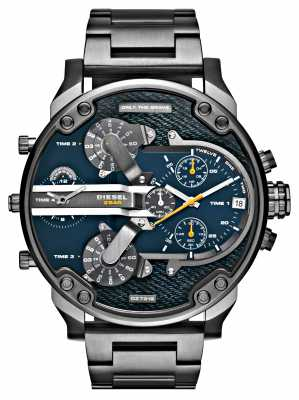 Diesel Mens Mr Daddy 2.0 Gun metal Denim Dial Chrono DZ7331