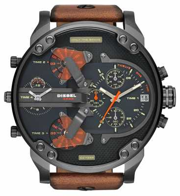 Diesel Mens Mr Daddy 2.0 Black Dial Brown Leather Strap Chrono DZ7332