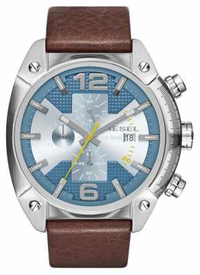 Diesel Mens Overflow Stainless Steel Blue Dial Brown Leather Chrono DZ4340