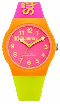 Superdry Urban Pink Lime Silicone Strap Watch SYG164MP