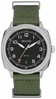 Bulova Mens Military UHF Black Green Watch 96B229