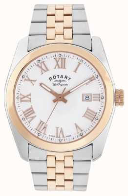 Rotary Mens Lausanne, Two Tone, Rose Gold Watch GB90111/01