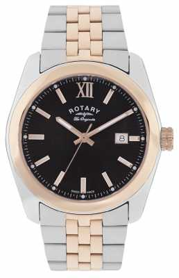 Rotary Mens Lausanne, Steel & Rose Gold, Black Dial GB90111/04
