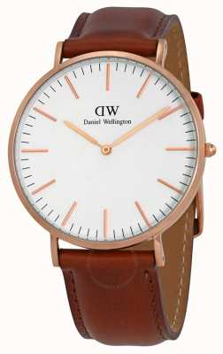 Daniel Wellington Mens Classic St Mawes 40mm Rose Brown Leather DW00100006