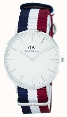 Daniel Wellington Mens Classic Cambridge 40mm Blue Red Silver DW00100017