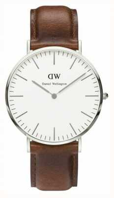 Daniel Wellington Mens Classic St Mawes 40mm Silver Leather DW00100021
