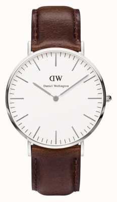 Daniel Wellington Mens Classic Bristol 40mm Silver Brown Strap DW00100023
