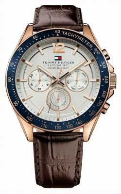 Tommy Hilfiger Luke | Brown Leather Strap | White Dial 1791118