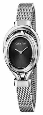 Calvin Klein Womens Belt, Steel, Silver Dial Watch K5H23121