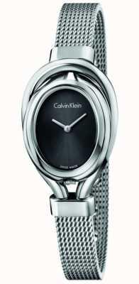 Calvin Klein Womens Belt, Steel, Silver Dial Watch K5H23121