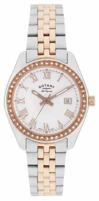 Rotary Womens Lausanne, Two Tone, Rose Gold, Crystal LB90111/01