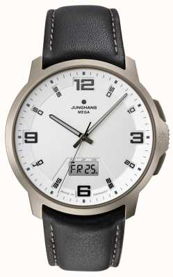 Junghans Mens Voyager Mega MF, White Dial, Leather 056/2511.00