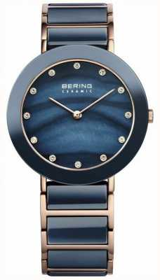 Bering Womens Blue Ceramic, Rose Gold, Pearl, Stone 11435-767