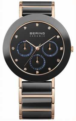 Bering Womens Black Ceramic, Rose Gold, Crystal 11438-746