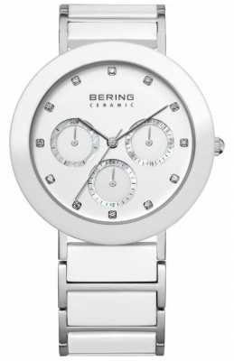 Bering Womens White Ceramic, Crystal, Multi-Dial 11438-754