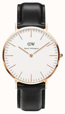Daniel Wellington Mens Classic Sheffield 40mm Rose Gold Black DW00100007
