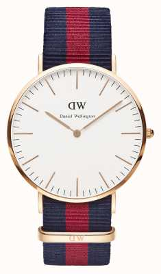 Daniel Wellington Mens Classic Oxford 40mm Rose Gold Navy Strap DW00100001