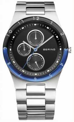 Bering Mens Steel, Black Dial, Blue Accent Watch 32339-702