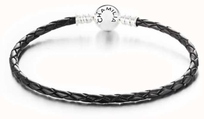 Chamilia Large Braided Black Leather Bracelet with Round Snap Closure 1030-0126