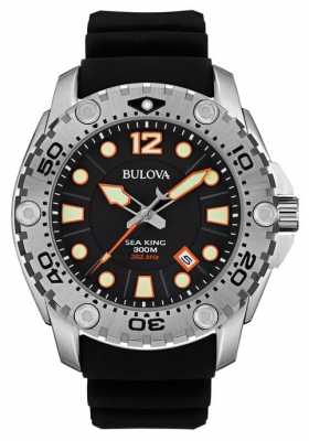 Bulova Mens Sea King Black Rubber Strap 96B228