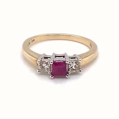 9k Yellow Gold Ruby Diamond 0.35pt Ring JM6166