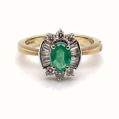 9k Yellow Gold Emerald Diamond Ring JM5315