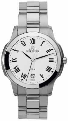 Michel Herbelin Mens Steel Ambassador, White Dial Watch 12239/B01